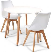 Toulouse Dining Set  - 90cms Round White Table & 2 White Chairs